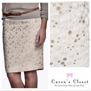 J Crew Ivory & Metallic Gold Bubble Pencil Skirt